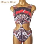 【Morena Rosa】モレナローザ ネイティブ柄2WAYモノキニワンピース水着|ブラウンマルチ