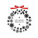 ウインターシーズン物入荷 転写式ウォールステッカー クリスマスリース 大