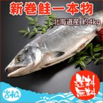 <水産物応援商品>北海道産 新巻鮭一本物 約4.0kg 送料無料 #元気いただきますプロジェクト ★11月5日以降に新潟より出荷予定