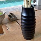 バリ アジアン雑貨 インテリア フラワーベース 花瓶 木製 花器 黒 ブラック 鉢 おしゃれ マホガニー モダン A