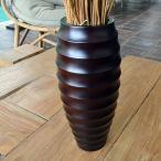 バリ アジアン雑貨 インテリア フラワーベース 花瓶 木製 花器 鉢 おしゃれ マホガニー モダン F