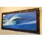 バリ 絵画 海 インテリア 油絵 壁掛け アート パネル アジアン雑貨 ビーチ 波 134×63cm 7