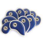エナメル アイアン ヘッドカバー 3〜Pw 刺繍番手入り10点セット PUレザー ブルーxゴールド
