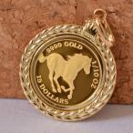 コイン ペンダント トップ ゴールド 馬 ホース 1/10 OZ クイーン エリザベス II 枠 k18 トップ 24金  y070033
