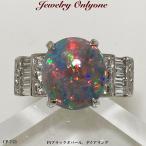 ブラックオパールリング ダイアモンド入りリプラチナリング指輪 本物の宝石 レディースジュエリー