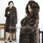 ロシアン セーブル コート フード 付き ファー 毛皮