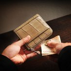 コンパクト 財布 クロコダイル マット L字ファスナー   メンズ