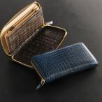 クロコダイル多機能 長財布 ラウンドジップ 一枚革 ヘンローン 真鍮ファスナー ゴールド金具/ メンズ  (本革 レザー)