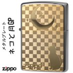 ジッポ zippo ライター (ジッポーライター猫) ブラッシュクローム猫と月ゴールドプレート貼り(ネコポス対応)