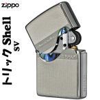 zippo(ジッポーライター)トリックシェルジッポ メタルプレート天然貝貼り シルバー SV  シリアルNo.入り  送料無料