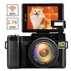 デジタルカメラ デジカメ ビデオカメラ カムコーダー ビデオブログカメラ 2.7K Wi-Fi フルHD 1080p 180度回転スクリーン
