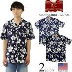 ロバートJクランシー RJC 半袖 アロハシャツ #102C-QK ネイビー ハワイ製  (ROBERT J. CLANCY 米国製 コットン 開襟)