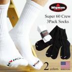 ウィグワム Wigwam クルーソックス スーパー60 3足セット ホワイト (米国製 SUPER60 CREW 3P 靴下 コットン)