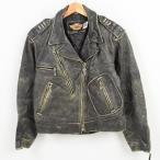 ショッピングハーレーダビッドソン 90年代 ハーレーダビッドソン Harley-Davidson ダブルライダースジャケット レディースL 【中古】 【171024】 /waj7365