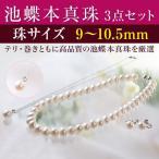 彩美珠 9〜10.5mm 池蝶本真珠3点セット