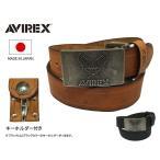 AVIREX(アビレックス) キーホルダー付き 牛革 シングルピン ロゴ プレートバックル レザーベルト プリント AX4079A キャメル ブラック