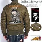 インディアンモトサイクル INDIAN × BETTY BOOP ベティブープ コラボ MA-1 フライトジャケット バイカーベティー 刺繍&パッチカスタム BBI-706-VGREEN