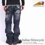 インディアンモトサイクル INDIAN ジーンズ ヘッドマーク&フェザー 総刺繍 ダメージ加工 デニムパンツ IMBL-706-INDIGO