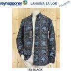 レインスプーナー、Reyn spooner、長袖40L125-1806  ラハイナセーラー、ブラック、アロハシャツ、LAHAINA SAILOR ゴールドラベル アメリカ、ハワイ製