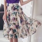スカート レディース ハイウエスト 膝丈 花柄 フラワー 30代 40代 ファッション 2017 春夏 新作