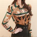 ショッピングブラウス ブラウス レディース 上品 シャツ レトロ柄 長袖 30代 40代 ファッション 高級感 秋  新作