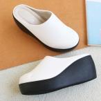 サボサンダル レディース 厚底 シンプル 秋 ファッション 靴 婦人靴 黒 白