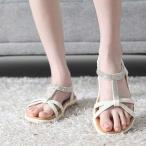 サンダル レディース ペタンコ ラインストーン キラキラ 夏 ファッション 靴 婦人靴
