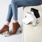 ブーティ レディース 30代 40代 ファッション ブーティー サイドジップ チャンキーヒール メタルヒール