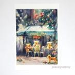 「クマ達のティータイム」 Yumi Kohnoura作 オリジナル・ポストカード 絵はがき 葉書 絵画 クマ テディベア パリ フランス カフェ レストラン 風景