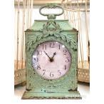 【ヨーロピアン】時計 アンティーク加工 グリーン 置時計 フレンチカントリー インテリア