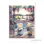 「marching」 Yumi Kohnoura作 オリジナル・ポストカード 絵はがき 葉書 絵画 ブタ 太鼓 ドラム バイオリン 子豚