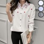 【SALE】 シャツ レディース 長袖 デザイン デザインシャツ ホワイトシャツ レディースシャツ 白シャツ 刺繍 刺繍シャツ