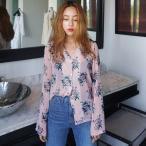 【SALE】 ブラウス レディース 長袖 シフォン Vネック シャツ 花柄ブラウス 花柄シャツ 花柄 フラワー ボタニカル ボタニカルシャツ ピンク