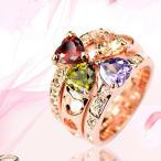 リング 指輪 レディース スワロフスキー クローバー ハート カラフル 大きいサイズ あすつく  K18金RGP