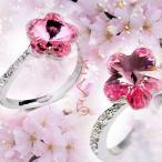 指輪 リング K18 SWAROVSKIさくらリング/お花見/卒業式入学式/お祝い/指輪