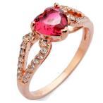 指輪 リング K18 甘い色合いがチャーミングな大人の魅力/レッド彩石ハートリング/K18RGP