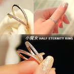 指輪 リング K18 スタイリッシュな印象を指先に放つリング/華奢ハーフエタニティリングK18RGP/SILVER925
