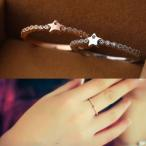 指輪 リング K18 小振りな星モチーフのフェミニンな表情SWAROVSKI スターハーフエタニティリング/ピンキー/指輪