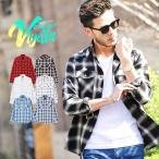 チェックシャツ メンズ トップス ウエスタンシャツ 長袖シャツ チェック柄 ロング丈 選べる2タイプ 春 春服 送料無料画像
