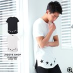 Tシャツ メンズ 半袖 星柄プリント ロング丈 サイドジップ 春服 春 送料無料