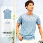 ショッピング柄 Tシャツ メンズ ネイティブ柄 インディゴ ノルディック 半袖Tシャツ 夏服 送料無料