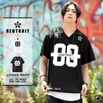 Tシャツ メンズ ロゴプリントTシャツ 半袖Tシャツ ストリート アメカジ 夏服 送料無料 / ロゴラインナンバープリントゲームシャツ