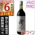 五一わいん 酸化防止剤無添加 メルロー 赤 720ml 長野県 国産ワイン 赤ワイン よりどり6本以上送料無料