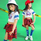 激安販売 子供 キッズ 女の子  ヒップホップ ダンスウェア ダンス衣装 ダンスウェア ジャズ ヒップホップ衣装  セットアップ hiphop チアガール チア衣装