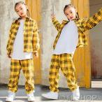 ヒップホップダンス衣装 トップス HIPHOP ダンス 衣装 キッズ ジャケット 原宿系 チェックパンツ ジャズダンス衣装 練習着 体操服 チェック柄 シャツ