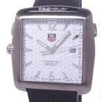 【中古】タグホイヤー ゴルフウォッチ タイガーウッズエディション メンズ腕時計 クォーツ SS ボール柄ホワイト文字盤 WAE1112