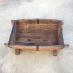 焼杉半バレルプランターS|木製|プランター|樽型|aks-66933