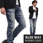 BLUEWAY タイトスリムジーンズ ソリッドストレッチデニム(オーバーエイジング):M1880-5305