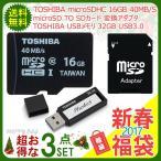 記録メモリ2枚セット+ microSD/microSDHCカード→SDカード 変換アダプタ 福袋 合計3点セット TO7108V3DCH-BK+TO3307NA-40+AT1001-OE