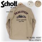 ショッピングschott Schott/ショット 刺繍 長袖ワークシャツ TC WORK SHIRT DRAG STRIPE